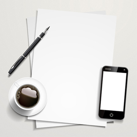 blank paper and working place elements isolated on white table Ilustração