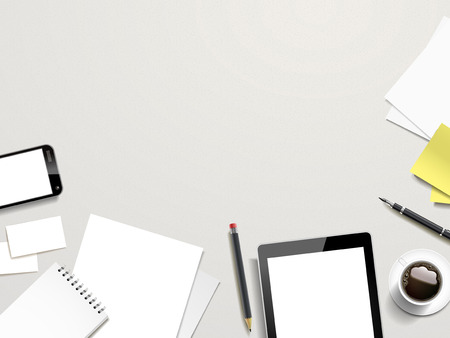 table top: top view of working place elements on white background Illustration