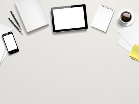 top view of working place elements on white table