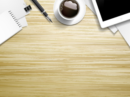 coffee: top view of working place elements on wooden table Illustration