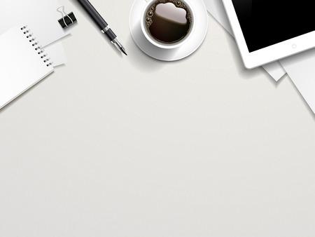 beyaz masanın üzerine iş yeri elemanlarının üst görünümü Çizim