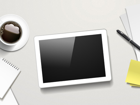 tabletop: tablet and working place elements over white table