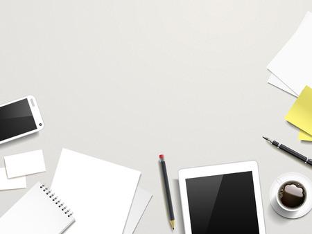 vista dall'alto di lavoro posto elementi sul tavolo bianco Vettoriali