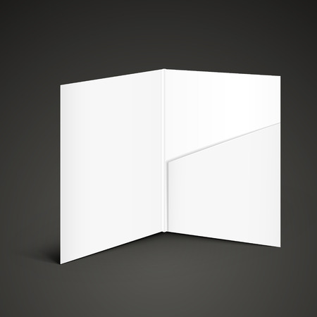 white empty open folder template standing on the table Vector