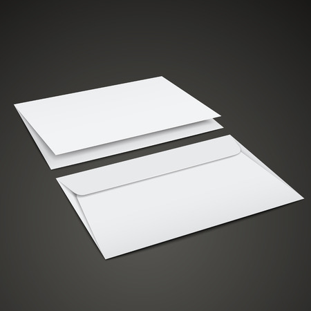 mailer: blank envelopes template isolated over black background