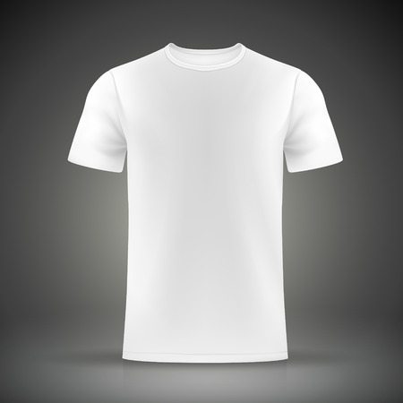 white T-shirt template isolated on black background Çizim