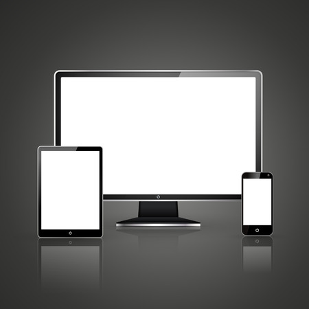 device set that includes TV, tablet, smart phone over black background