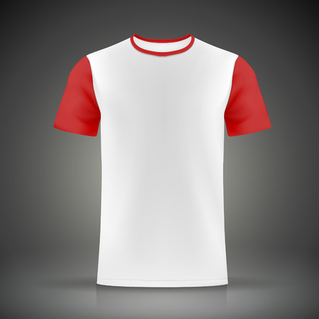 short sleeve: white and red T-shirt template isolated on black background Illustration