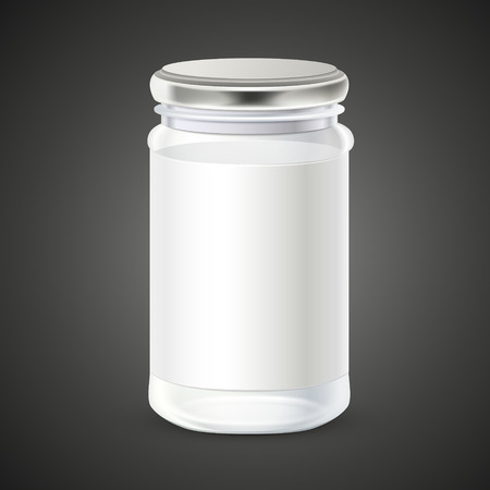 blank glass bottle with label isolated over black background Illustration