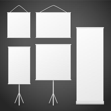 x stand: en blanco rollo pancartas conjunto aislado sobre fondo negro Vectores