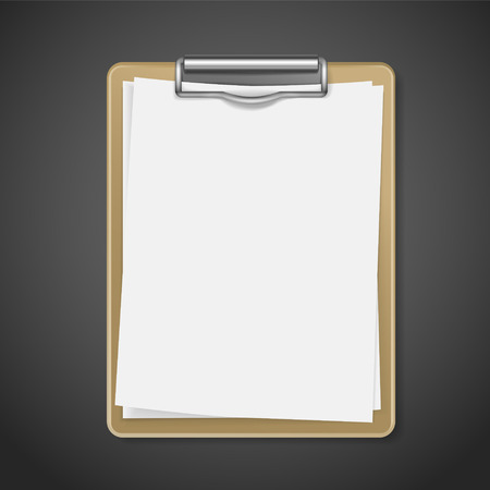 wooden pencil: clipboard with blank paper over black background Illustration