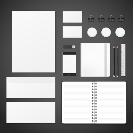 note pad: blank corporate identity stationery set over black