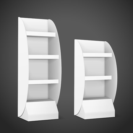 single shelf: blank displays with shelves isolated on black background