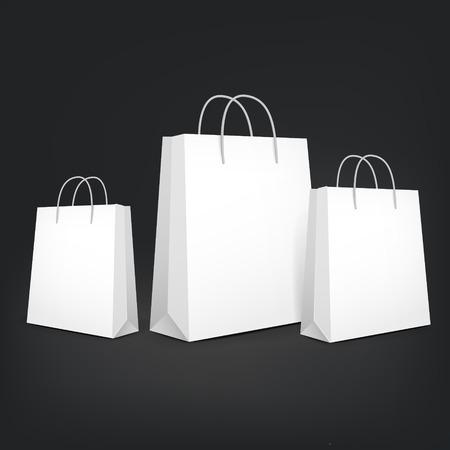 3d lege boodschappentassen geïsoleerd op zwarte achtergrond