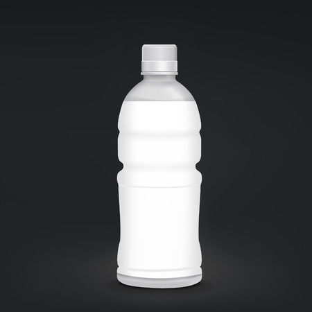plastic bottle with blank label isolated on black background Vector