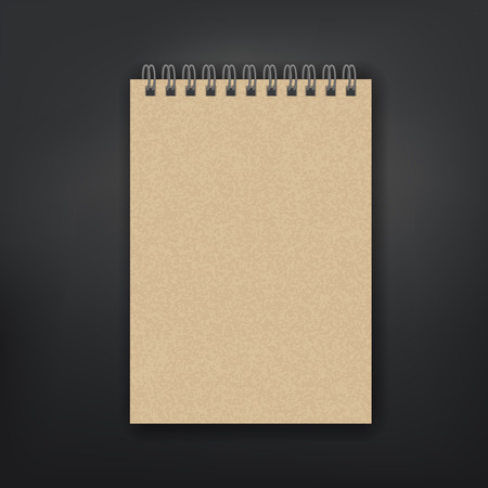 blank note: blank note book isolated on black background