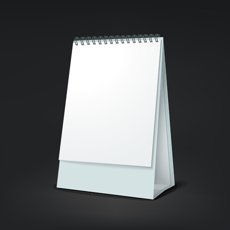 life event: standing blank calendar isolated on black background Illustration