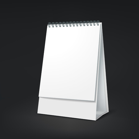 standing blank calendar isolated on black background Vector