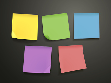 blank colorful sticky notes set over black background