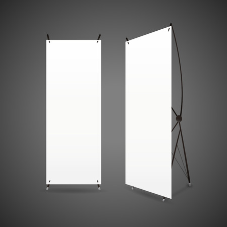 blank banner: blank roll up banners set isolated over black background