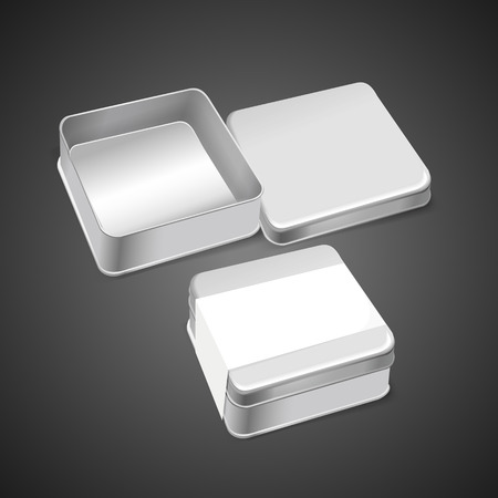 3d blank metal box template isolated on black background Illustration