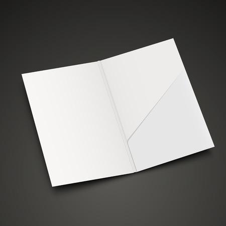 En blanco plantilla de carpeta abierta aislada sobre fondo negro Foto de archivo - 33567690