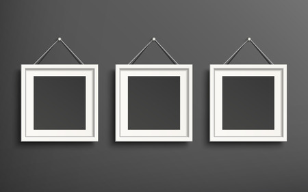 blank picture frame template set hanging on wall Illustration