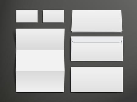 name card: blank envelopes, business card and folder over black background Illustration