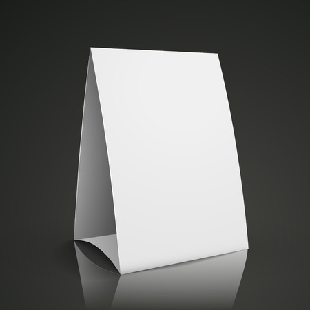 assign: modern 3d blank white paper table card isolated on black