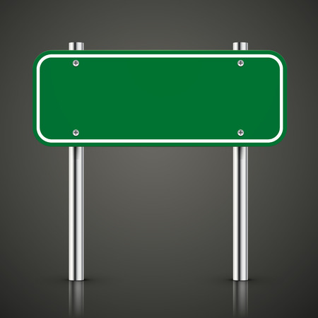 green road sign: 3d blank green traffic road sign over black