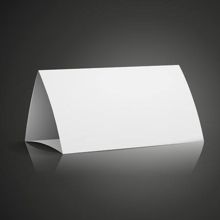 card holder: modern 3d blank white paper table card isolated on black