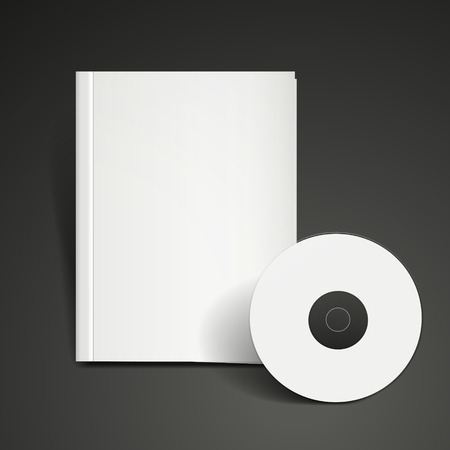 dvd cover: blank dvd and book cover template set over black background