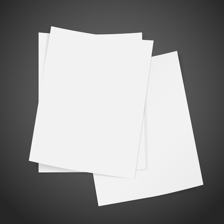 stack of documents: blank stack of paper isolated on black background Illustration