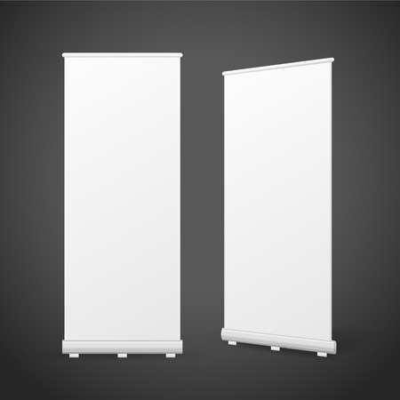 blank roll up banners set isolated over black background Vector