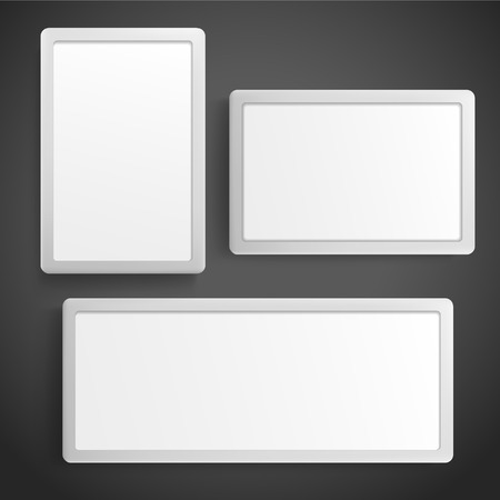 3d blank light box template on black background Vector