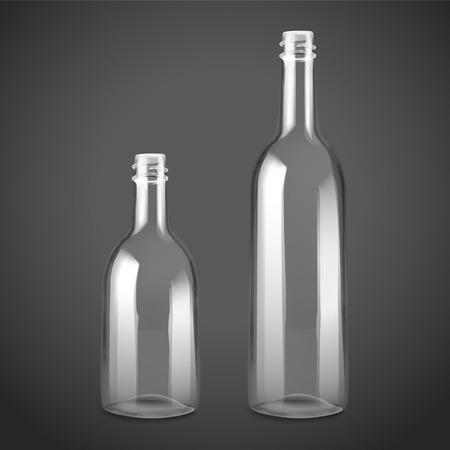 botellas vacias: vacío conjunto botella de vidrio aislado en el fondo negro