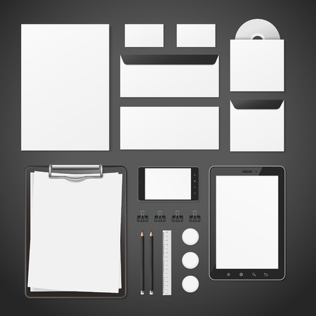 stationery set: blank corporate identity stationery set over black
