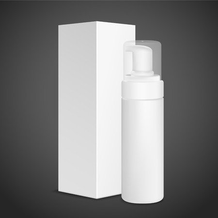 plastic box: blank cosmetics package siolated on black background Illustration