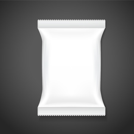 white paper bag: blank package template isolated on black background Illustration