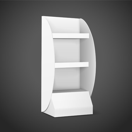 furnish: blank displays with shelves isolated on black background