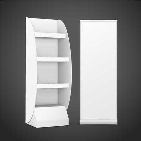 product display: blank display with shelves and roll up banner isolated on black