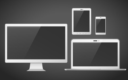 smart phone: device set that includes TV, tablet, smart phone and laptop over black background
