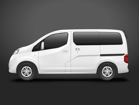 white goods: white commercial van isolated on black background