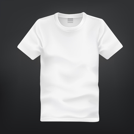 man t shirt: white T-shirt template isolated on black background Illustration