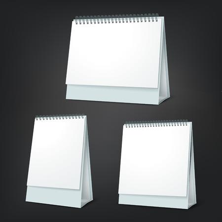 standing blank calendar set isolated on black background Vector