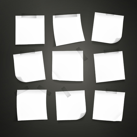 blank note: blank note paper set isolated on black background Illustration