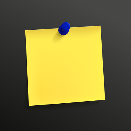 note paper background: yellow note paper with pin isolated on black background Illustration