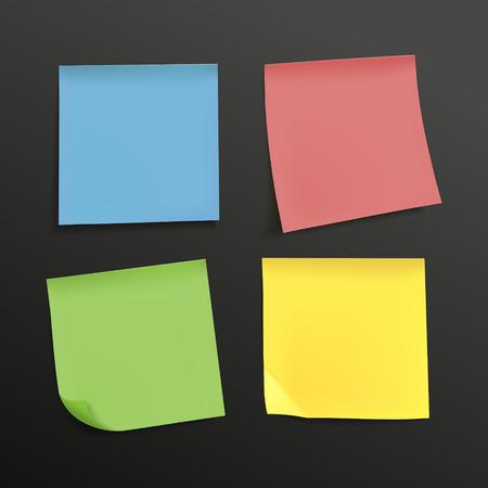 blank colorful sticky notes set over black background