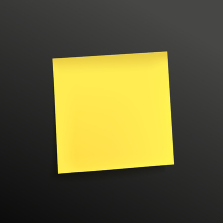 note paper: yellow note paper isolated on black background Illustration