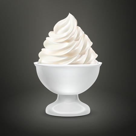 food container: envase de alimento blanco con helado de leche aislado m�s negro